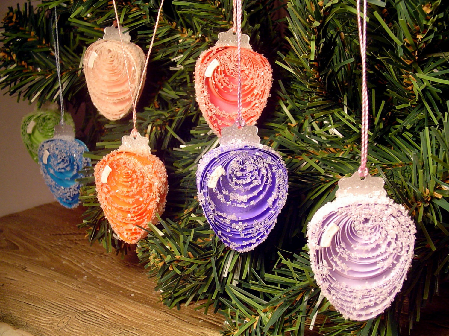 Frosty Christmas Lights Paper Quilling Ornaments Set Of 7